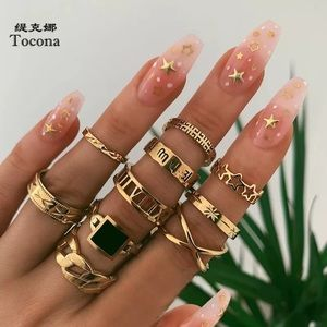 New Luxury Shiny Square Crystal Stone Gold Rings